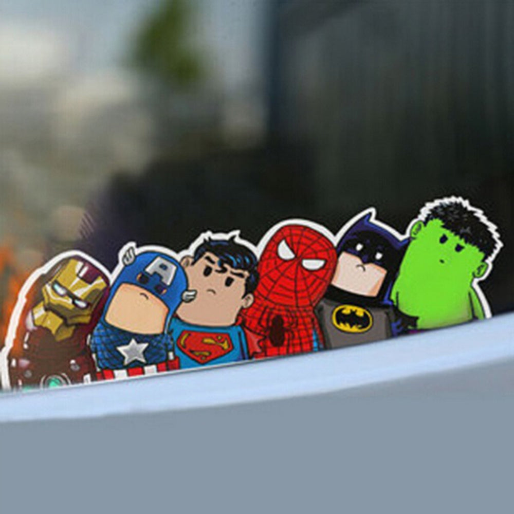 Funny Avengers Wry Neck  Cartoon Reflective Car Decal