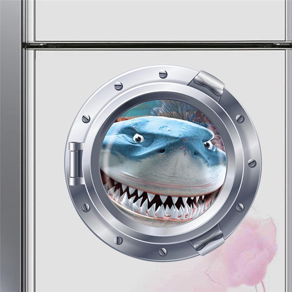 3D Shark Through Porthole Wall Decal