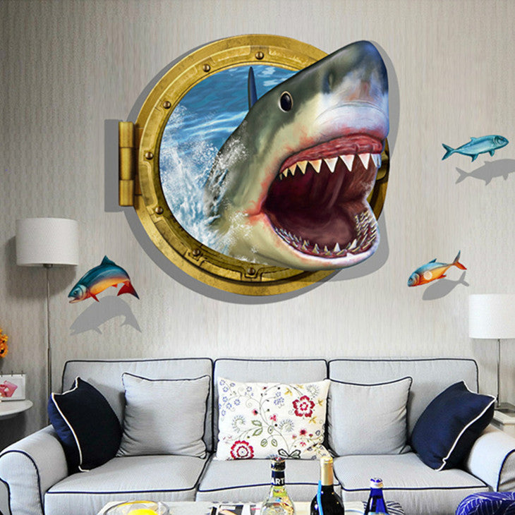 AMAZING 3D SHARK SEA WALL DECAL – EXTREMELY LIMITED