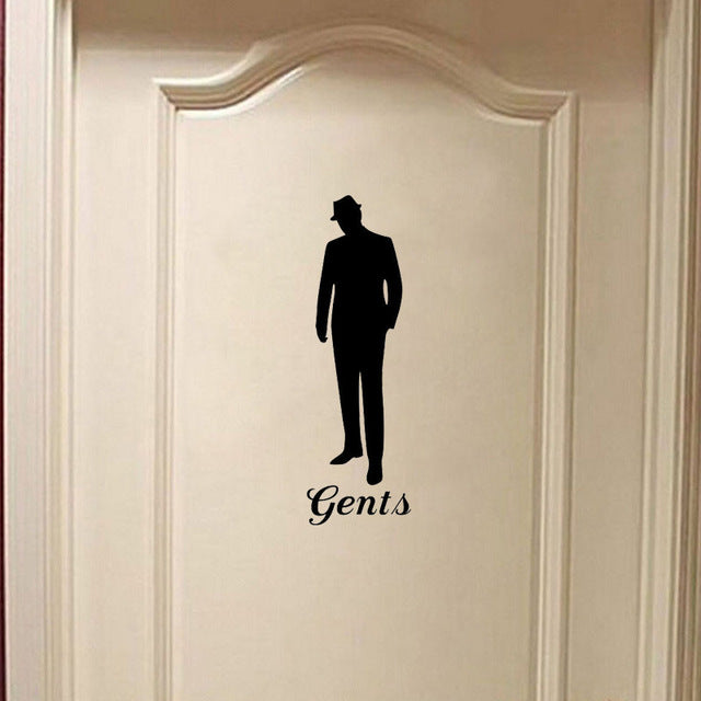 Stylish Vintage Man Woman Bathroom Door Decals