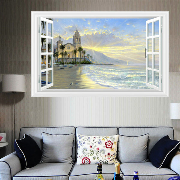 Sunshine Beach Window View Wall Decor