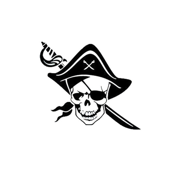 Fun Pirate Sword Skull Car Decal