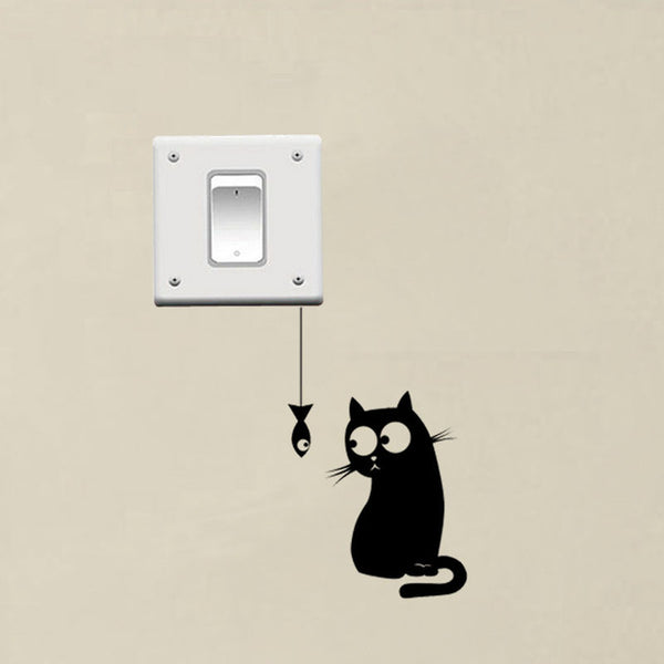 Hungry Cat Funny Switch Decor