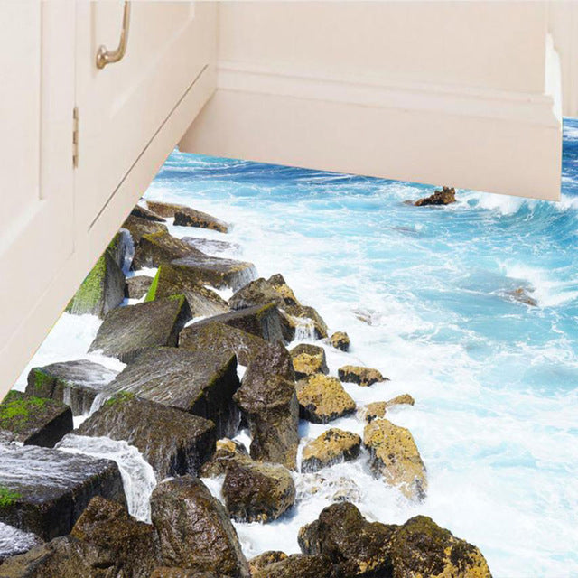 3D Bathroom Beach Stone Floor Decal