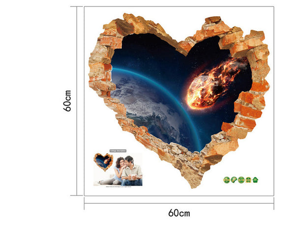 Vivid Broken Heart  Comet Wall Decal