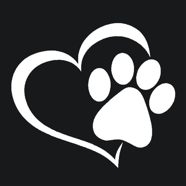 Love The Dog Paw Print Window Decal