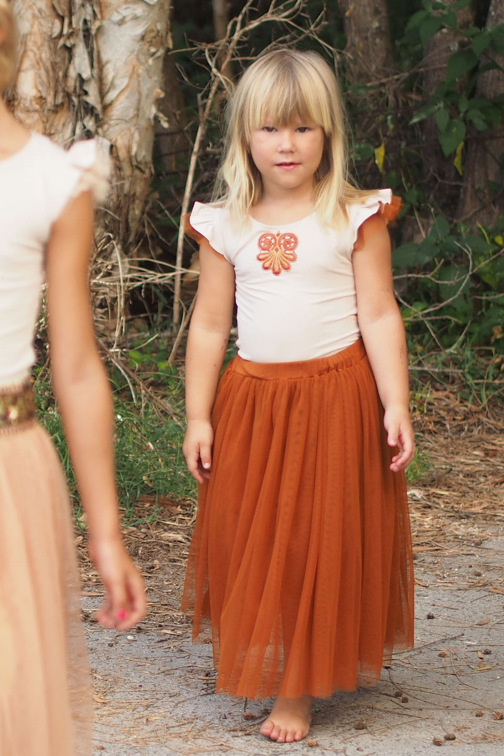 Gypsy Chic Long Tulle Skirt Rust