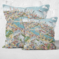 Throw Cushion - London Looking East in Pastel Shades