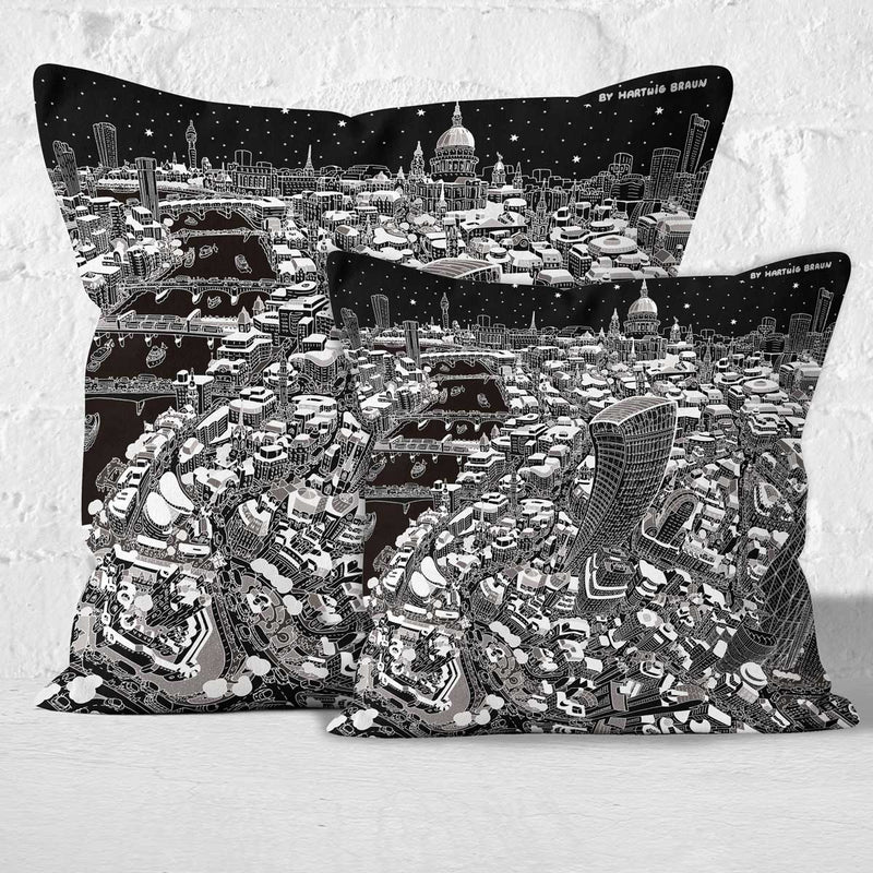 Throw Cushion - St Paul's & The City of London in Black & White