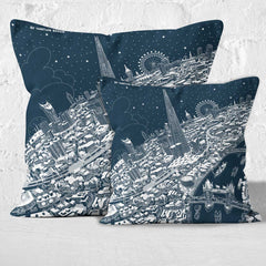 Throw Cushion - London Around The Shard in White on Blue