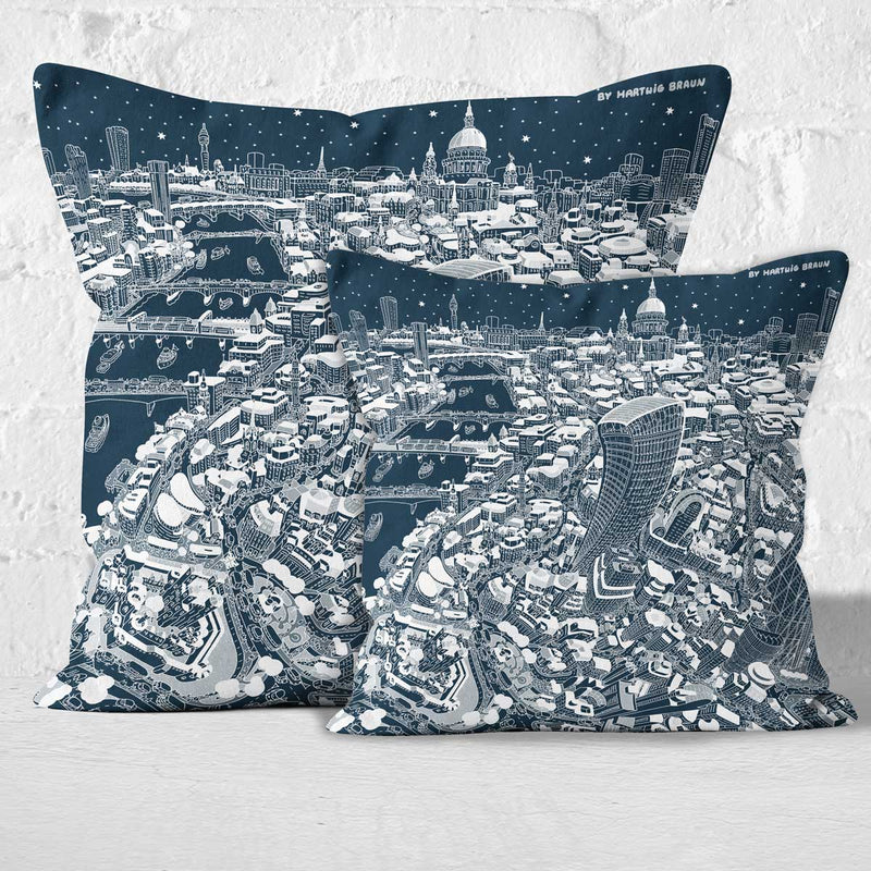 Throw Cushion - St Paul's & The City of London in White on Blue