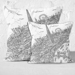 Throw Cushion - London Around The Shard in Line Drawing