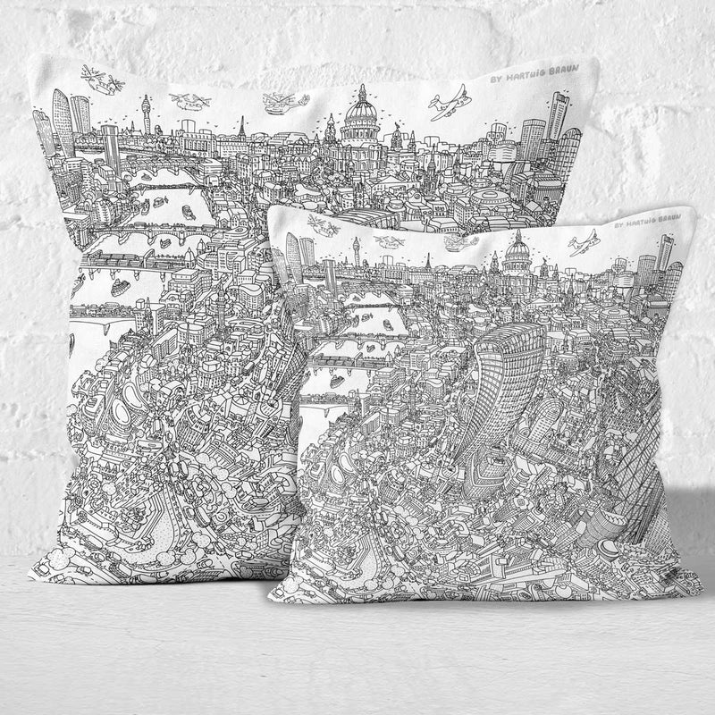 Throw Cushion - St Paul's & The City of London in Line Drawing