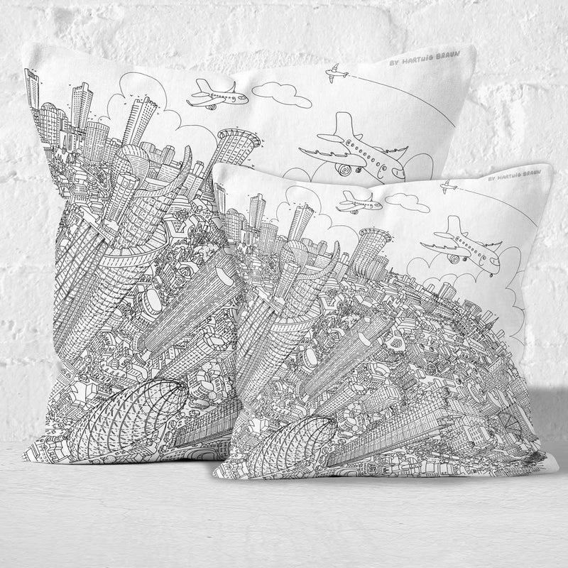 Throw Cushion - The City of London in Line Drawing