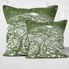 Throw Cushion - London, Maritime Greenwich in White on Green