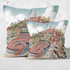 Throw Cushion - Rome, The Colosseum in Pastel Shades