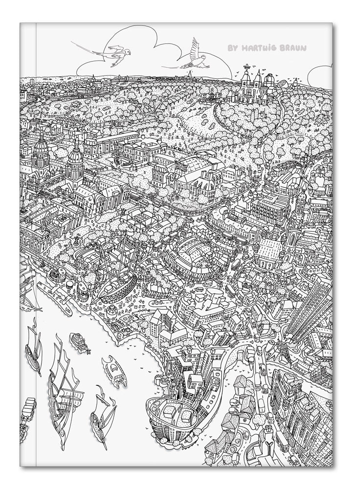 Hardback A5 Notebook - Greenwich to Canary Wharf - Line Drawing