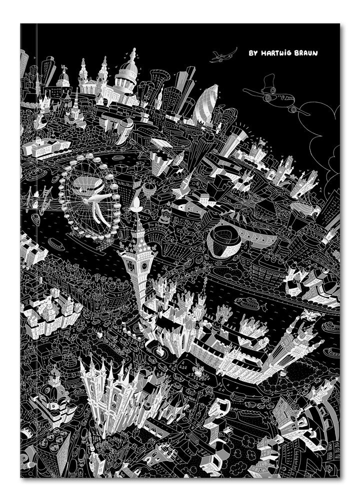 Hardback A5 Notebook - London Looking East in Black & White