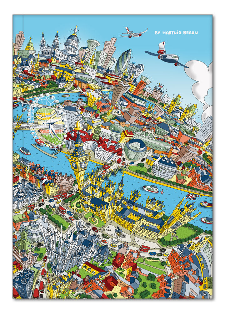 Hardback A5 Notebook - London Looking East in Full Colour