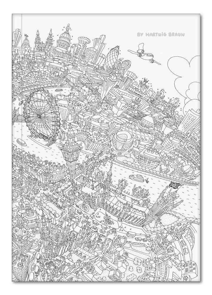 Hardback A5 Notebook - London Looking East - Line Drawing