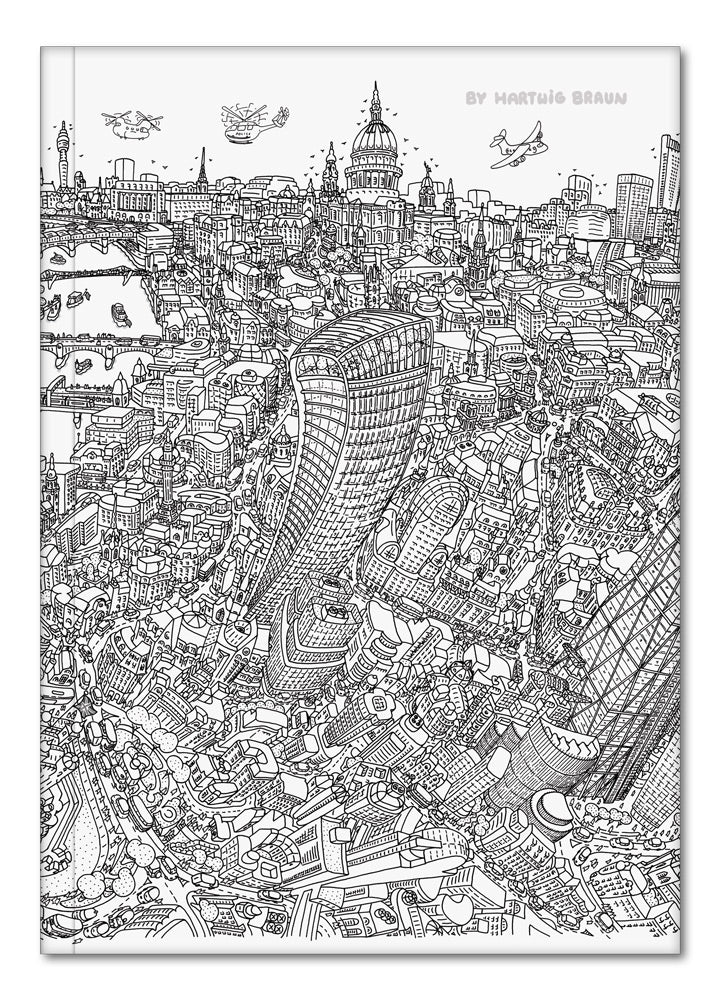 Hardback A5 Notebook - London Looking West - Line Drawing