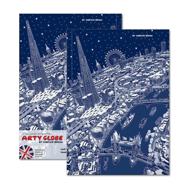 Hardback A5 Notebook - London Looking West in White & Blue
