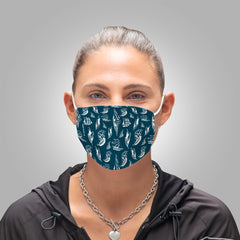 Face Mask With Filters - Boats on Teal