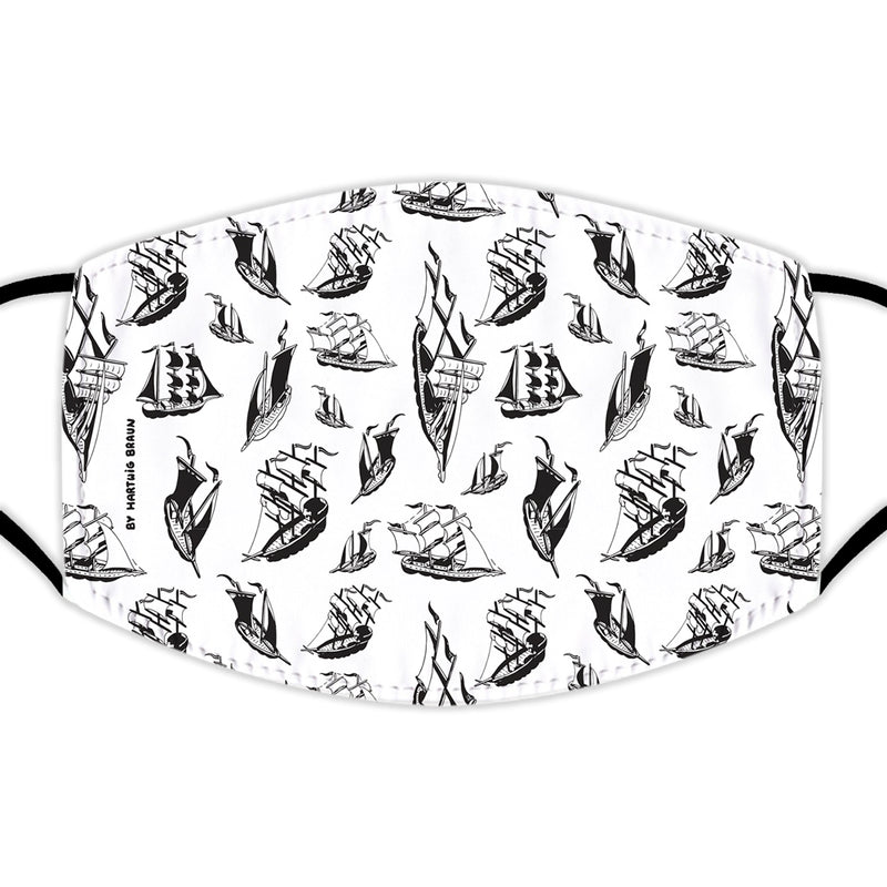 Face Mask With Filters - Boats on White