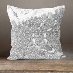 Cushion Triptych - Berlin Looking South - Line Drawing