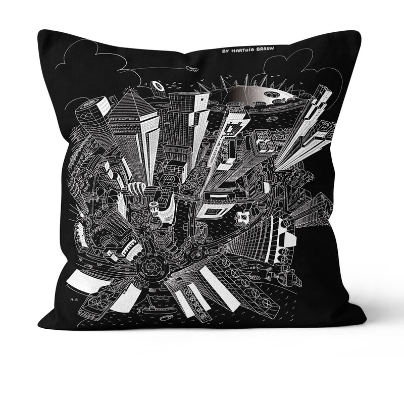 Throw Cushion - London, Canary Wharf in White on Black