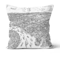Throw Cushion - London, Royal Greenwich in Line Drawing