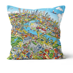 Throw Cushion - London Looking East in Green