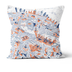 Throw Cushion - London Looking East in Graphic Line
