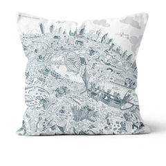 Throw Cushion - London Looking East in Teal