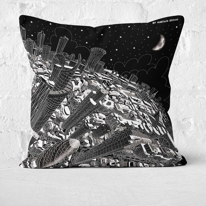 Cushion Triptych - London Looking West in Black & White
