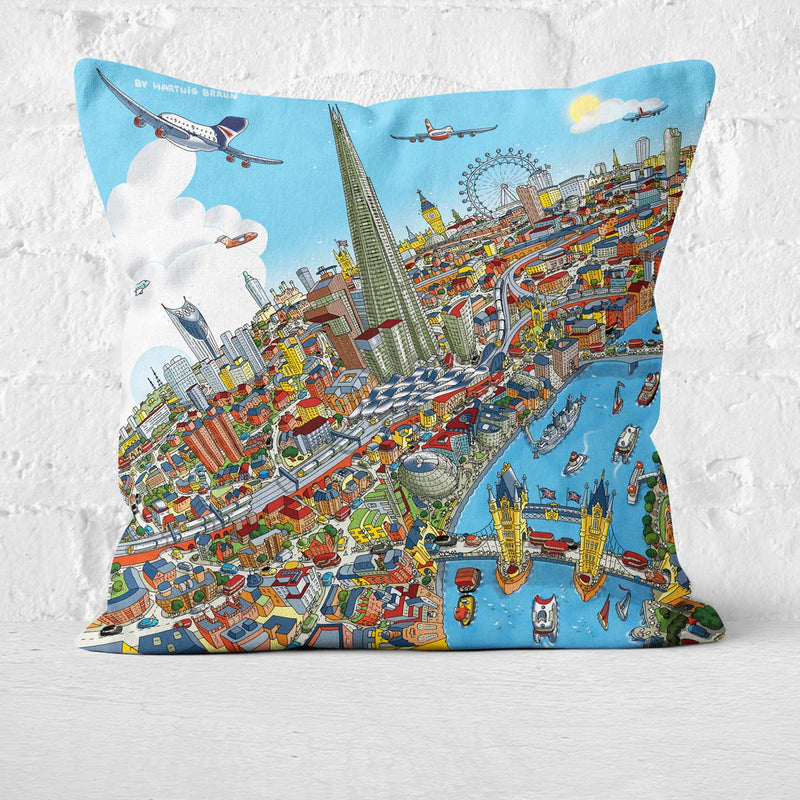 Cushion Triptych - London Looking West in Full Colour