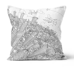 Throw Cushion - The City of London in White on Blue