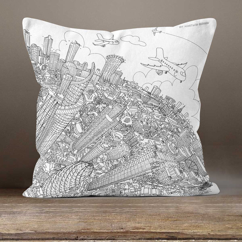 Cushion Triptych - London Looking West - Line Drawing