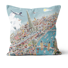 Throw Cushion - London Around The Shard in Pastel Shades
