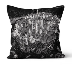 Throw Cushion - New York, Manhattan in Black & White