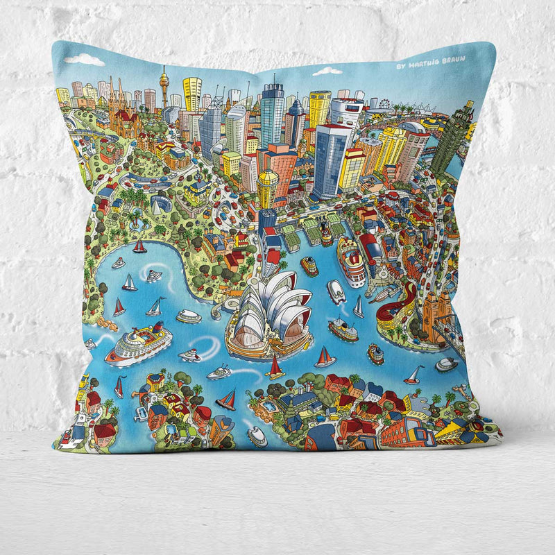 Cushion Triptych - Sydney Looking South in Full Colour