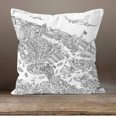 Cushion Triptych - Sydney Looking South - Line Drawing
