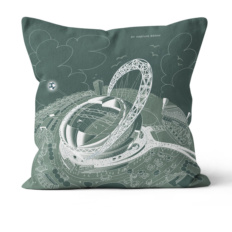 Throw Cushion - London Wembley Stadium in White on Teal