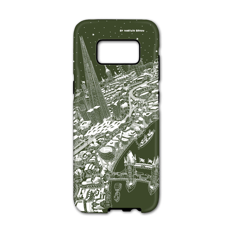 Smartphone 3D Case - London Around The Shard in White on Green