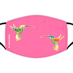 Face Mask With Filters - Two Hummingbirds