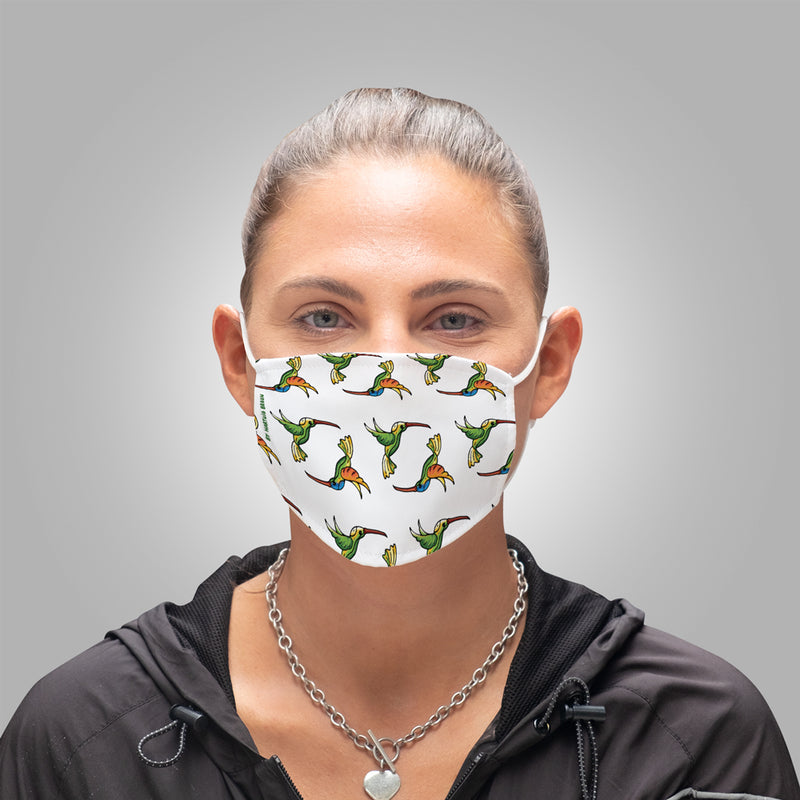 Face Mask With Filters - Hummingbirds Design on White