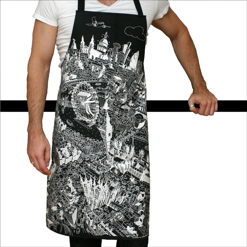 Adult Apron - London Skyline on Black