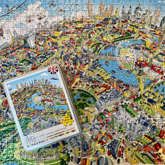 1,000 Piece Jigsaw Puzzle in Tin Box - Jolly Britain (Illustrated UK Map)
