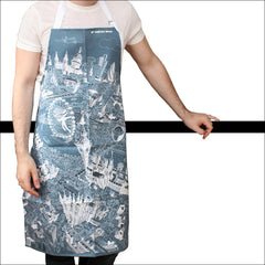 Adult Apron - London Skyline on Teal