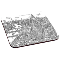 Set of 6 Melamine Coasters - London in Line Drawing